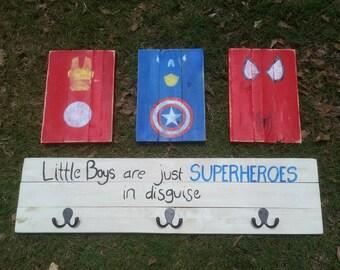 Handmade and hand painted Super Hero Costume hooks sign!