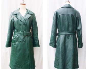 1970s Green Leather Coat