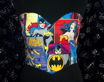 GIRL POWER Super/Comic Heros Crop Top/Costume-Wonder Woman, BatGirl, SuperGirl-Comic Con, Cosplay, Anime, DERBY