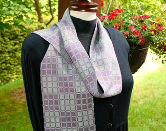 Hand woven, Hand made, Ladies Scarf, Purple,  Silk, Mint Green Bamboo, Geometric Boxes, OOAK