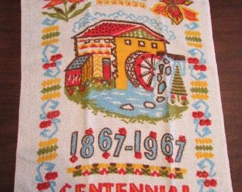vintage CANADA'S CENTENNIAL 1867-1967 terry cloth Tea Dish TOWEL T-320