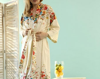 Orchard Blossom Kimono Dressing Gown - Organic Cotton