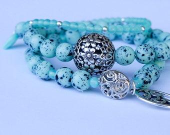 Jewellery, Bracelet, Stack Bracelet, Blue Bracelet, Robins Egg Blue Bracelet, Aqua Blue Bracelet, Stretch Bracelet, Silver Blue Bracelet