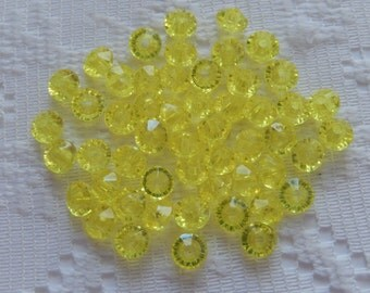 75  Bright Lemon Yellow Faceted Rondelle Saucer Acrylic Beads  6mm