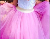 Girls Long Tulle Skirt with Gold or Silver Metallic Elastic Waistband