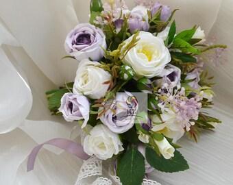 artificial flower wedding bridal bouquet white purple rose vintage