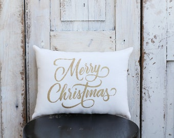 Merry Christmas Pillow Decor Pillow GOLD pillow 14x9 accent pillow Holiday pillow