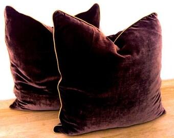 "Throw Silk Velvet Pillow 20"" by 20"" , Chocolate Brown, Modern  Home Accent,"