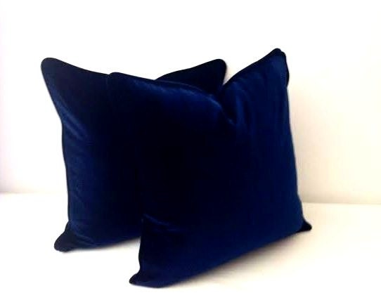 Blue Velvet Throw Pillows : Navy Blue Velvet Throw Pillow Cover, Velvet Blue Cushion Cover, Free Shipping