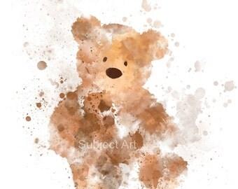 Teddy Bear ART PRINT illustration, Wall Art, Nursery, Bedroom, Birthday, Gift, Home Decor