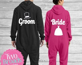 Bride and Groom Pajamas, Footie Pajamas, Pjs, Husband and Wife Pajamas