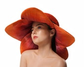 Red and Orange Sun Hat, Floral Summer Hat