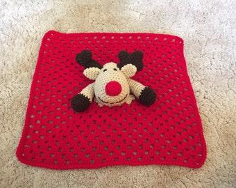 Crocheted Rudolph Lovey Baba Blanket