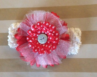 Red and White flower on a clip with headband