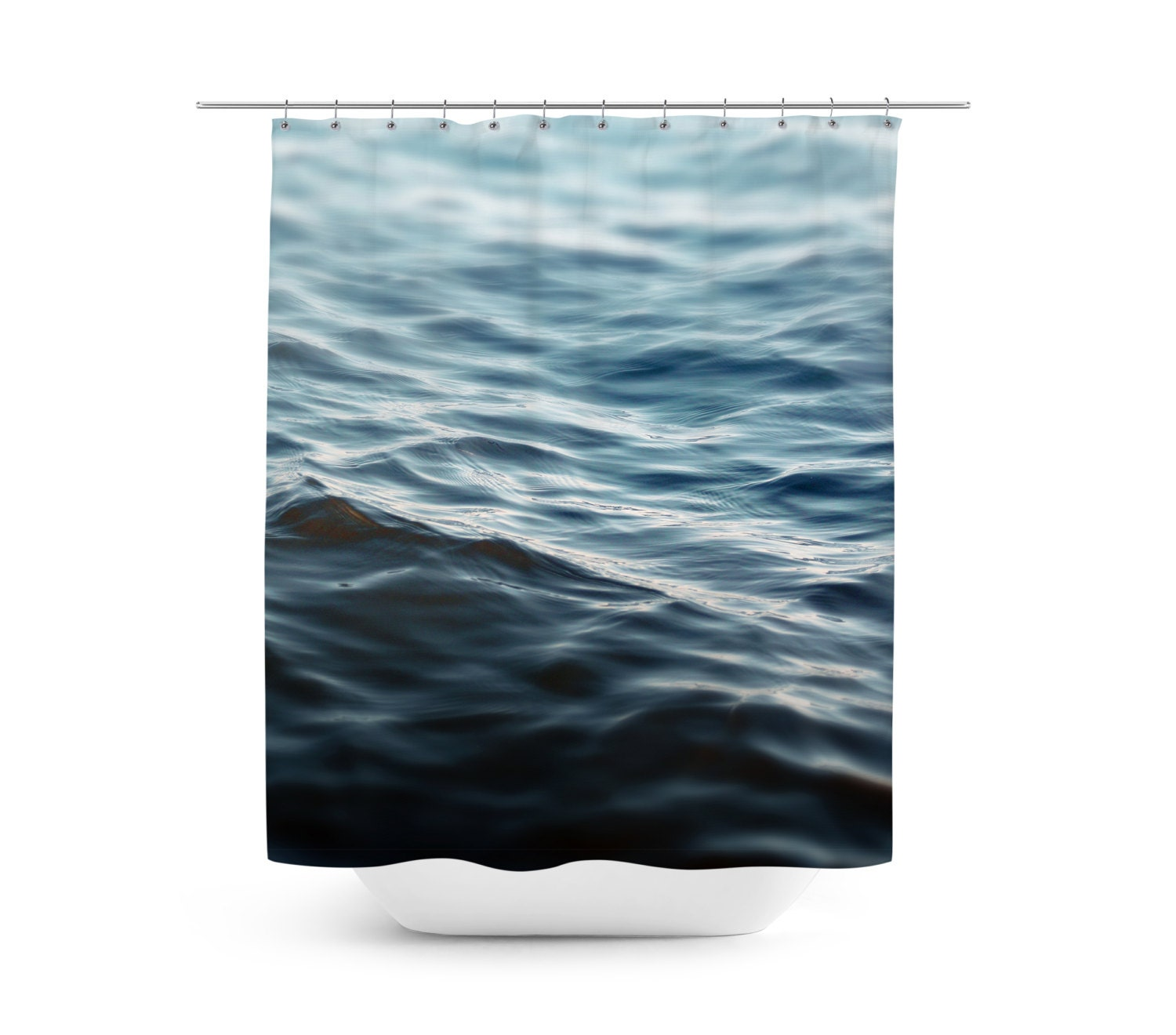 Dark Waters 2 Shower Curtain Navy Blue Ocean By NatureCityCo