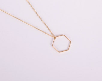 Gold Plated Necklace Disc Gold Hexagon Coin Golden Necklace Honeycomb
