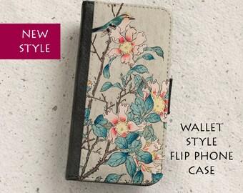 iPhone Case (all models) - Japanese - Bird - Goldcrest - Vintage - Wallet flip case -  Samsung Galaxy S4,S5,S6,S7 Edge,Note 5
