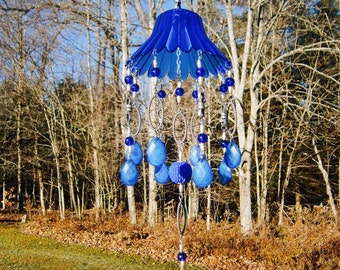 Handmade Repurposed Recycled Cobalt Blue Glass Candle Holder Blue Acrylic Prisms Suncatcher Mobile