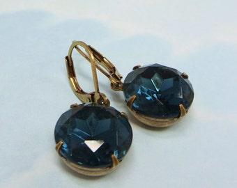 Montana Blue Earrings Dangles Estate Style Navy Blue Denim Blue