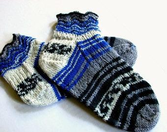 Print Socks, Blue and Grey Handknit Socks, Striped Socks, Ruffled Socks, Short ankle length  Washable knits