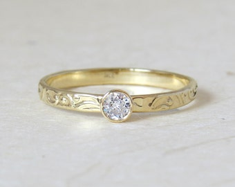 Diamond engagement ring - Floral diamond engagement ring, wedding Ring set, matching engagement and wedding band, 14k solid gold ring set.