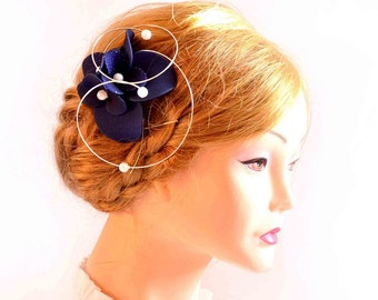 Navy blue headpiece Modern fascinator Wedding hair comb Wedding fascinator Wedding hair clip Bridal hair accessories