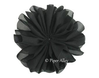 Black, Large Chiffon Scallop, Chiffon Fabric Flower, Solid Color, DIY Headband Supplies, DIY Hair Clip, Wedding Bouquet