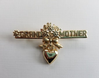 Vintage Gold Tone Grandmother Brooch Pin Flowers Heart Charm