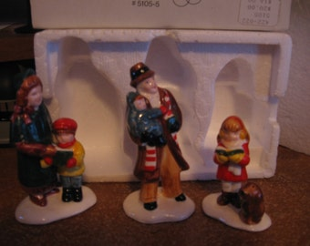 Snow Village, Dept. 56, Caroling Family, set of 3 pieces, hand painted, collectible, vintage