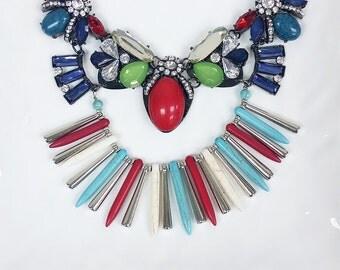 Royal Blue Boho turquoise Style necklace, crystal jcrew sstyle Bib Necklace, Bridesmaids Necklace, Fashion Party Necklace