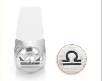 Libra zodiac sign metal stamp - zodiac design stamp - 6 mm zodiac punch - ImpressArt