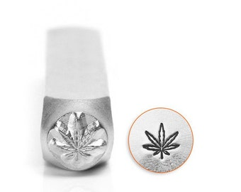 Hemp Leaf Metal Design Stamp, 6mm SC156-AI-6MM , for jewelry stamping