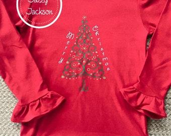 Long sleeve ruffle Christmas shirt