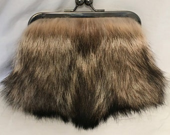 Genuine Coyote Fur Clutch Purse