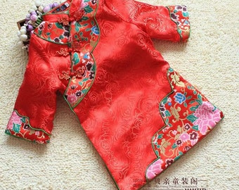 Girls Chinese New Year Red flower embroidered dress
