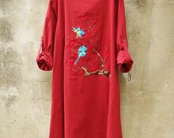 Embroidered Bird Butterfly flowers Cotton linen dress