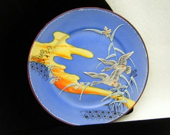 Vintage Antique Blue Moriage Plate Flying Geese Sunset Unknown Mark
