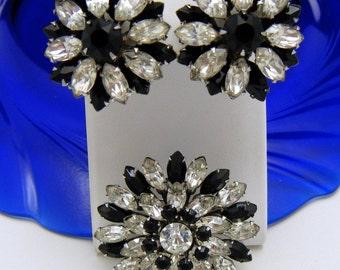 Vintage Rhinestone Brooch Earring Set Deco Revival Black & Clear Super Sparkly