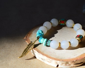 Asian Gold Leaf with White Jade and Tibetan accent beads