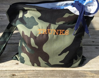 Wet Bag, Camo Swim Bag, Waterproof , Pool bag, Beach Bag, Personalized