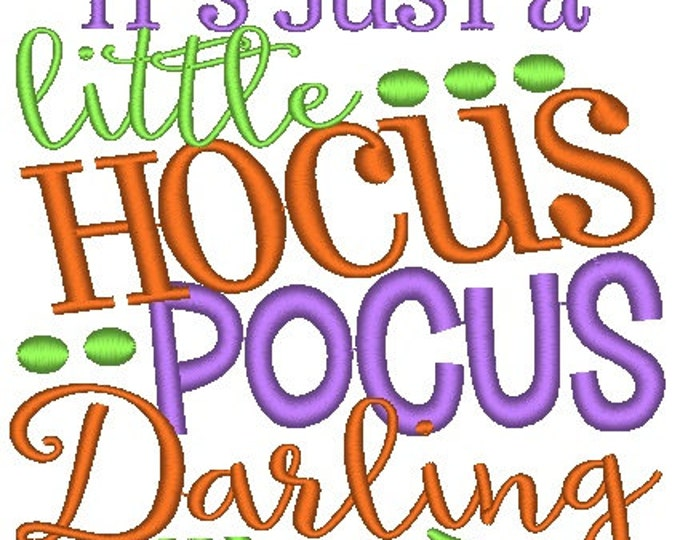 SAMPLE SALE, It's Just a Little Hocus Pocus Darling Embroidered Halloween Shirt - Boys Halloween Shirt - Girls Halloween Shirt - Fall Shirt