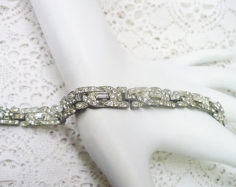 Authentic Vintage 1920s Art Deco RHINESTONE Bracelet - silver tone pot metal - GATSBY Bridal - Bridesmaid gift - FLAPPER Style - 1920s gift