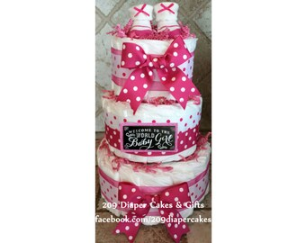 3-Tier Hot Pink and White Polka Dot Baby Girl Diaper Cake