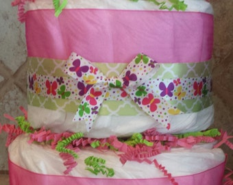 2-Tier Pink Butterfly Diaper Cake for Baby Girl Shower