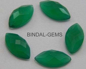10 Pieces Wholesale Lot Green Onyx Marquise Shape Checker Cut Gemstone for Jewelry