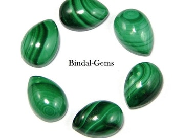 10 Piece Royal Natural Lot Malachite Pear Gemstone Cabochon
