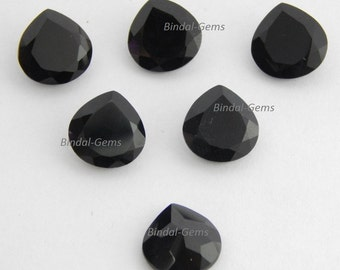 Wholesale Lot 15 Pieces Black Onyx Heart Shape Faceted Cut Loose Gemstone For Jewelry