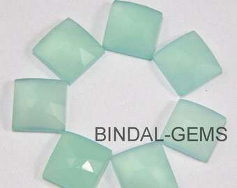 5 Pieces Lot Aqua Chalcedony Square Shape Loose Rose Cut Gemstone