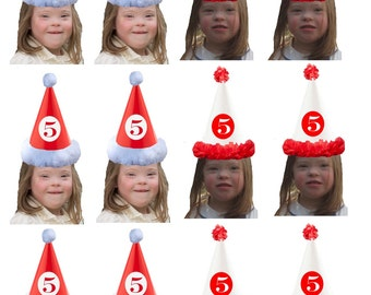 DIY digital Photo cupcake toppers. red and white