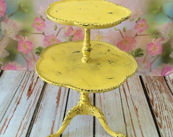 Two Trier Round Shabby Chic Side Table.